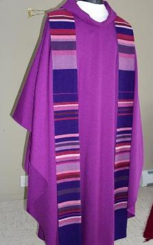 Handwoven Purple Chasuble and Stole